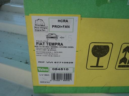 optique phare avant gauche FIAT TEMPRA