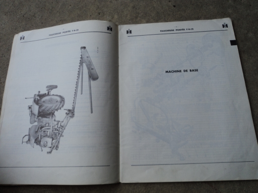 manuel pièces detachées  faucheuse portée F4-12